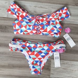Raisins Geometric Off The Shoulder Cheeky Bikini